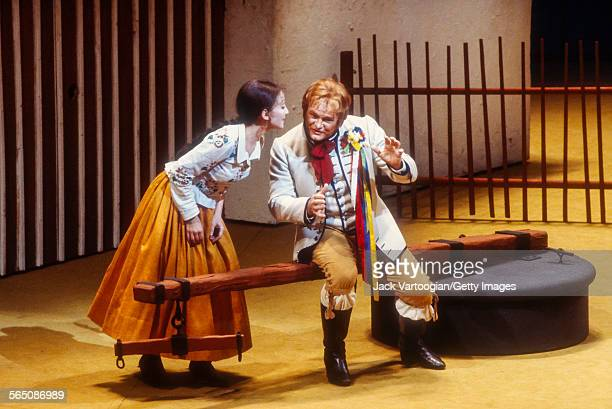 Canadian soprano Teresa Stratas and tenor Jon Vickers perform in the Metropolitan Opera/John Dexter production of 'The Bartered Bride' at the final...