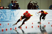 Canadian speed skater Catriona LemayDoan competes in the women's 1000m at MWave during the 1998 Winter Olympic games