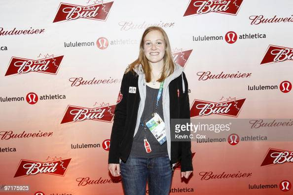 Canadian speed skater Jessica Gregg arrives to the Club Bud lululemon athletica Party on February 27 2010 at the Commodore Ballroom in Vancouver...