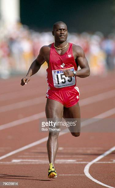 Canadian sprinter Ben Johnson finishes in first place with a time of 979 seconds in the final of the Men's 100 metres event at the 1988 Summer...