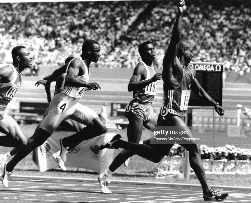 Canadian sprinter ben johnson winning the 100 metres sprint at the