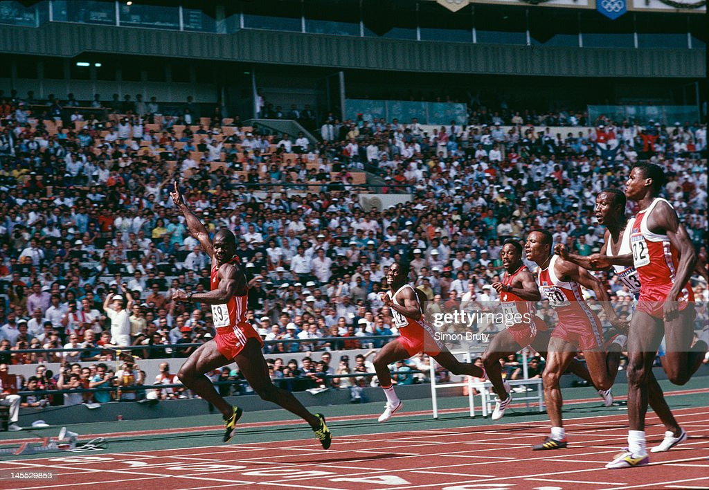 Canadian sprinter ben johnson left wins the 100 metres final at the