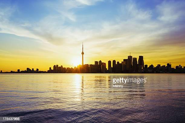 Canadian Summer Cityscape Skyline Toronto CN Tower at Sunset