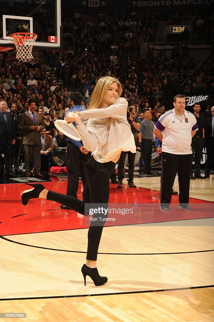 Canadian tennis player Eugenie Bouchard attends the game between the Orlando Magic and Toronto Raptors on November 11 2014 at the Air Canada Centre...