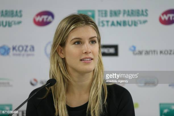 Canadian tennis player Eugenie Bouchard holds a press conference ahead of TEB BNP Paribas Istanbul Cup Tennis Tournament at Garanti Koza Arena VIP...