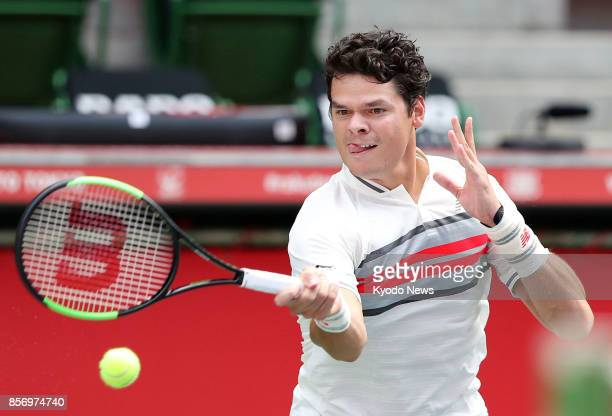Canadian third seed Milos Raonic faces off against Viktor Troicki of Serbia during the first round of the Japan Open in Tokyo on Oct 3 2017 Raonic...