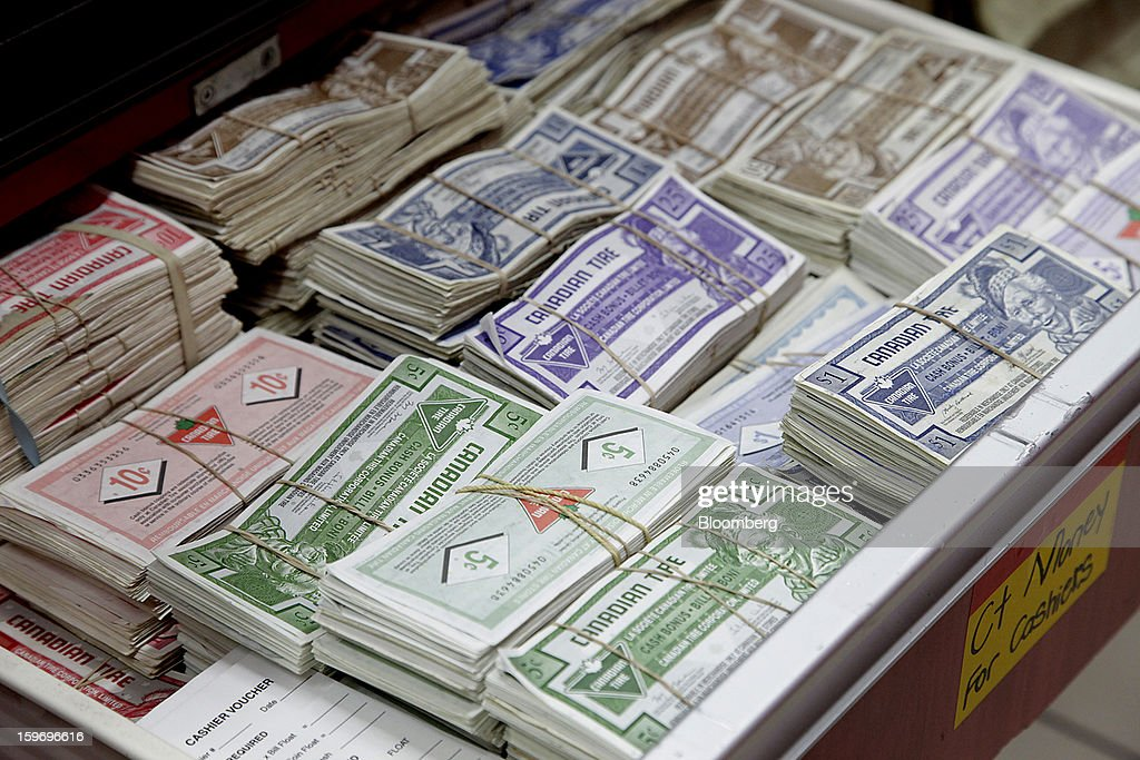 Canadian Tire Corp. money sits bundled together in stacks at a store in Toronto, Ontario, Canada, on Friday, Jan. 18, 2013. STCA - Statistics Canada is scheduled to release retail sales data on Jan. 21. Photographer: Reynard Li/Bloomberg via Getty Images