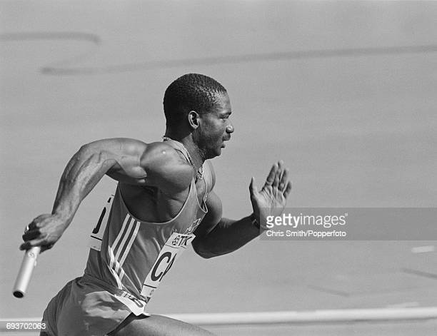 Canadian track athlete and sprinter Ben Johnson competes for Canada in the Men's 4 x 100 metres relay event at the 1987 World Championships in...