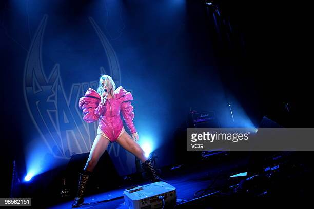 Canadian visual rock singer Peaches performs live during a concert at Macau Venetian Convention Center on April 18 2010 in Macau China