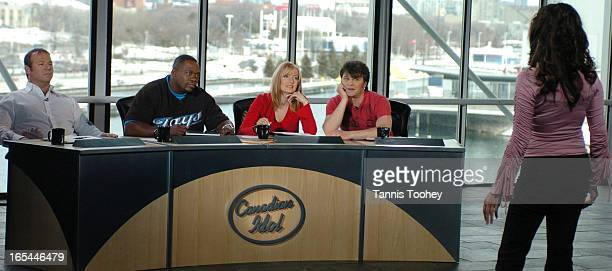 March 17 2004Canadian Idol celebrity judges Jake Gold Farley Flex Sass Jordan and Zack Werner listen to a contestant audtition on the final day of...