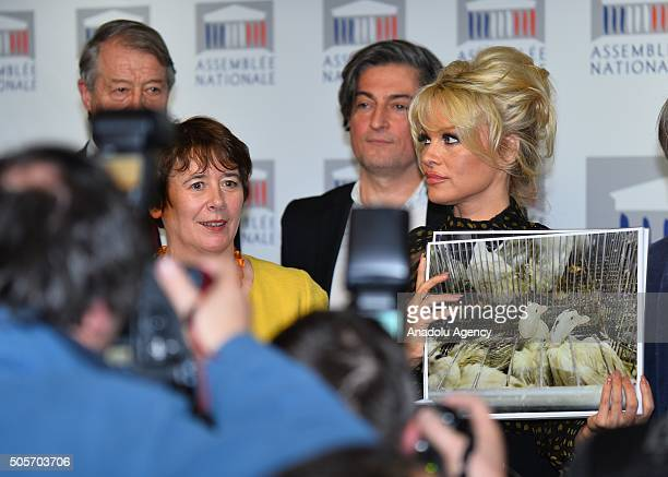 CanadianAmerican actress Pamela Anderson holds a press conference against the production of foie gras at the National Assembly in Paris France on...