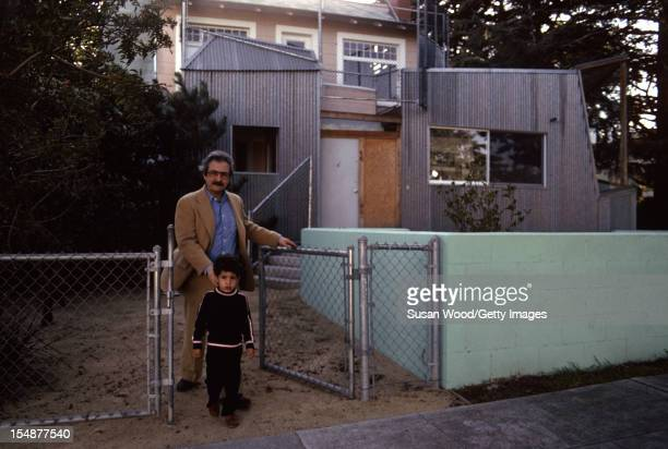 CanadianAmerican architect Frank Gehry and his son Alejandro in the yard in front of his selfdesigned home Santa Monica California January 1980