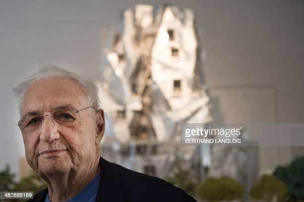 CanadianAmerican architect Frank Gehry is seen during a press conference in front of a model of the LUMA foundation in Arles southern France on April...