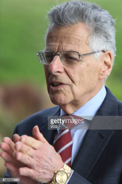 CanadianAmerican financial economist Myron Scholes Nobel Laureate in Economic Sciences receives interview as he attends the 2nd graduation ceremony...