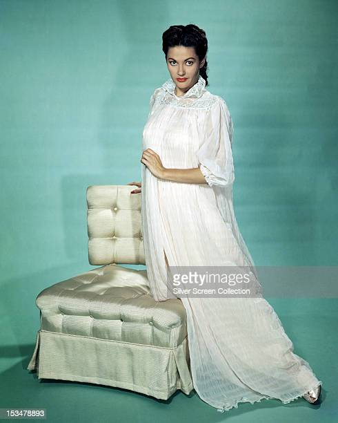 Canadianborn American actress Yvonne De Carlo in a white nightdress circa 1950