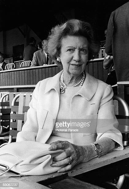 Canadianborn beautician and cosmetics entrepreneur Elizabeth Arden sits in her private box at the Saratoga Racetrack Saratoga Springs New York 1962...