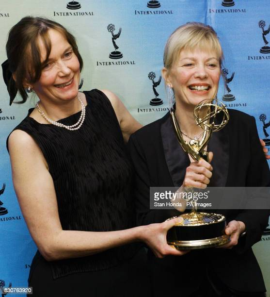Canadians Barbara Kennedy and Susan Rogers pose with their award at the 29th International Emmy Awards in New York City Kennedy and Rogers won the...
