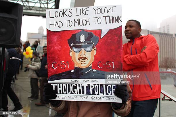 Canadians gather to protest against Bill C51 the federal government's proposed antiterrorism legislation at Nathan Phillips Square in Toronto on...