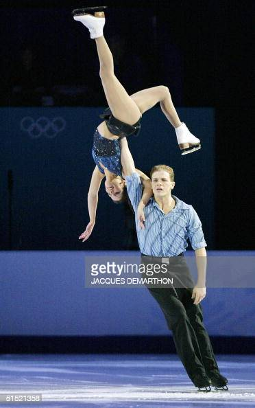 Canadians gold medalists Jamie Sale and David Pelletier perform during the figure skating exhibition at the Olympic Ice Center 22February 2002 during...