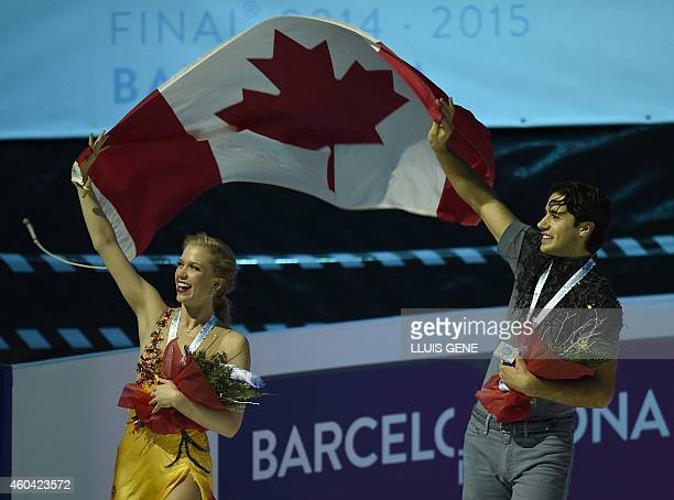 Canadians Kaitlyn Weaver and Andrew Poje parade with a Canadian flag after winning the pairs free Ice Dance event at the ISU Grand Prix of figure...
