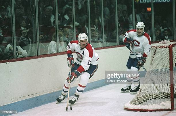 Canadiens defenceman Larry Robinson and forward Shayne Corson at the Montreal Forum during the Wales Conference finals in 1987