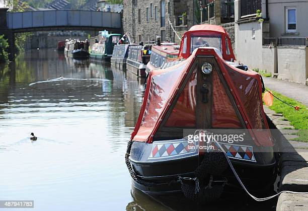Canal boats are moored up at the start of the Skipton Waterway Festival on May 3 2014 in Skipton England The Waterway festival is a three day annual...