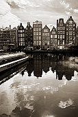 Canal boats in Amsterdam, Holland
