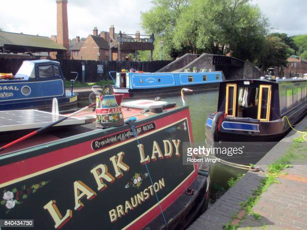 Canal boats moored on the Dudley Canal near the Black Country Living Museum in England's west midlands
