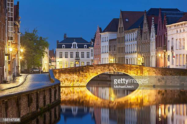 Canal Bridge In Bruges At Night
