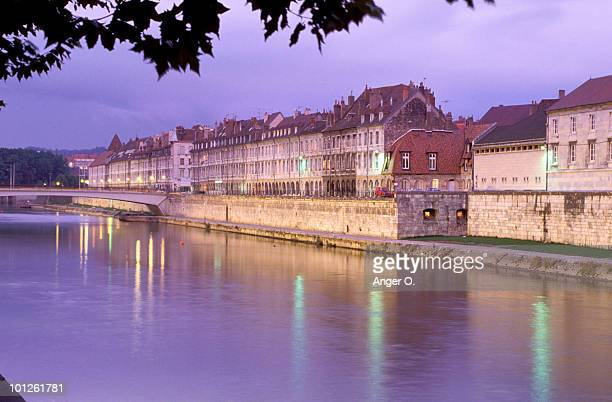 Canal by village, Besancon, France