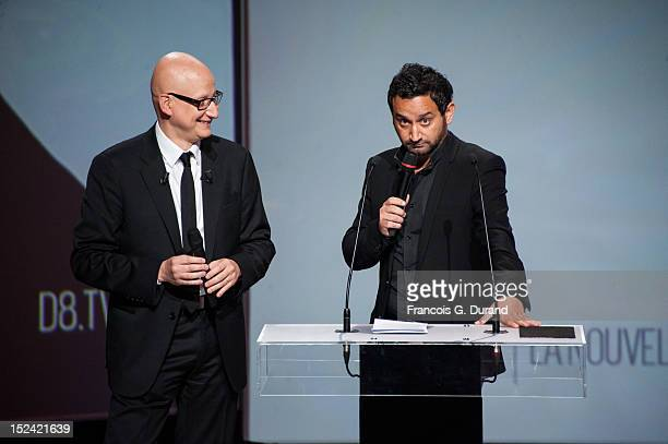 Canal flow unit manager Ara Aprikian and French TV host Cyril Hanouna attend the D8 D17 Group Canal TV Presentation at Le Carrousel du Louvre on...