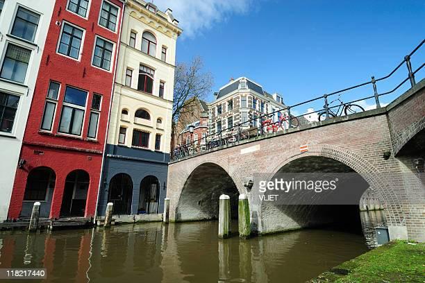 Canal houses in Utrecht along Oudegracht