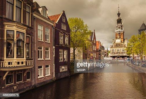 Canal in Alkmaar old town, Netherlands