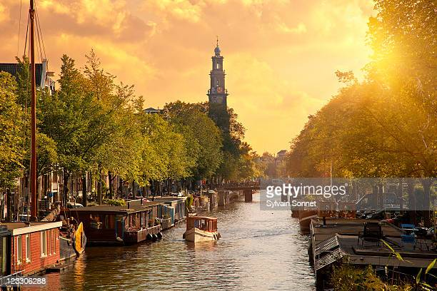 Canal in Amsterdam with the church 'Westerkerk'
