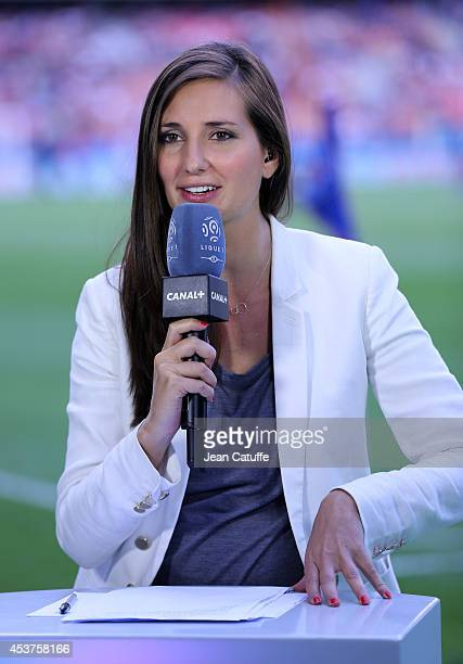 Canal Plus journalist Marie Portolano at work during the French Ligue 1 match between Paris Saint Germain FC and SC Bastia at Parc des Princes...
