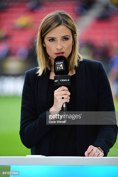 Canal rugby presenter Isabelle Ithurburu during the Rugby Top 14 League semi final match between Racing 92 and Clermont Auvergne at Roazhon Park on...