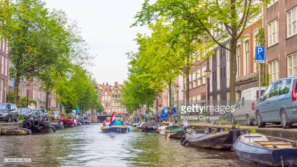 Canal scene in summer, Amsterdam - The Netherlands
