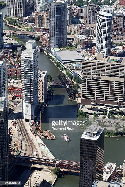 N Canal Street condominiums and SunTimes Building along the west riverbend as photographed from the Willis Tower Skydeck in Chicago Illinois on JULY...