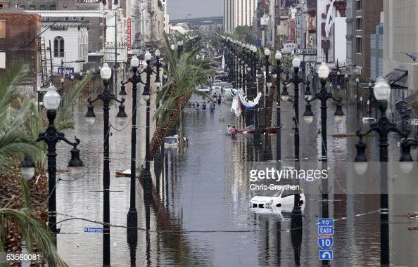 Canal Street is flooded a day after Hurricane Katrina blew through August 30 2005 in New Orleans Louisiana Devastation is widespread throughout the...
