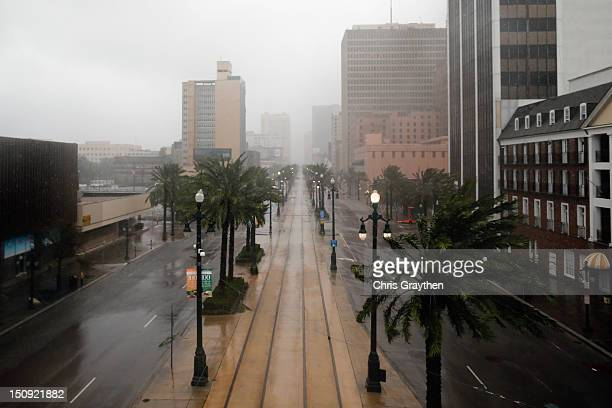Canal Street sits empty during Hurricane Isaac on August 29 2012 in New Orleans Louisiana The Category 1 hurricane is slowly moving across southeast...