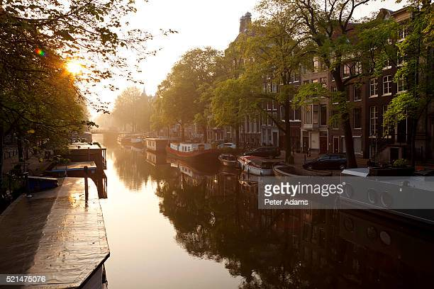 Canal, sunrise, Amsterdam, The Netherlands, Holland