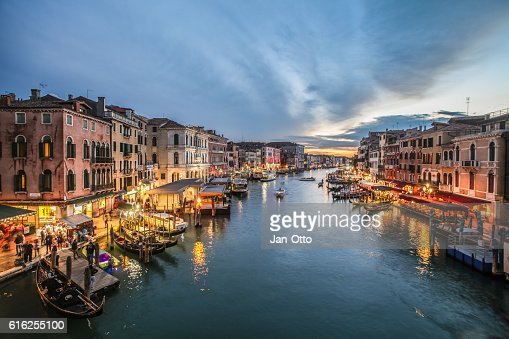 Canale Grande seen from Rialto Bridge in Venice, Italy : Stock Photo