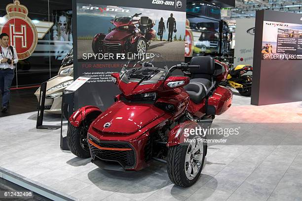A canam Spyder F3 at the 2016 Intermot trade fair on October 4 2016 in Cologne Germany Intermot is the worlds secondlargest motorcycle trade fair and...