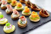 Close up view of canapes