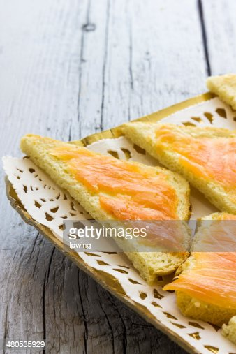 Canapes with salmon : Stock Photo