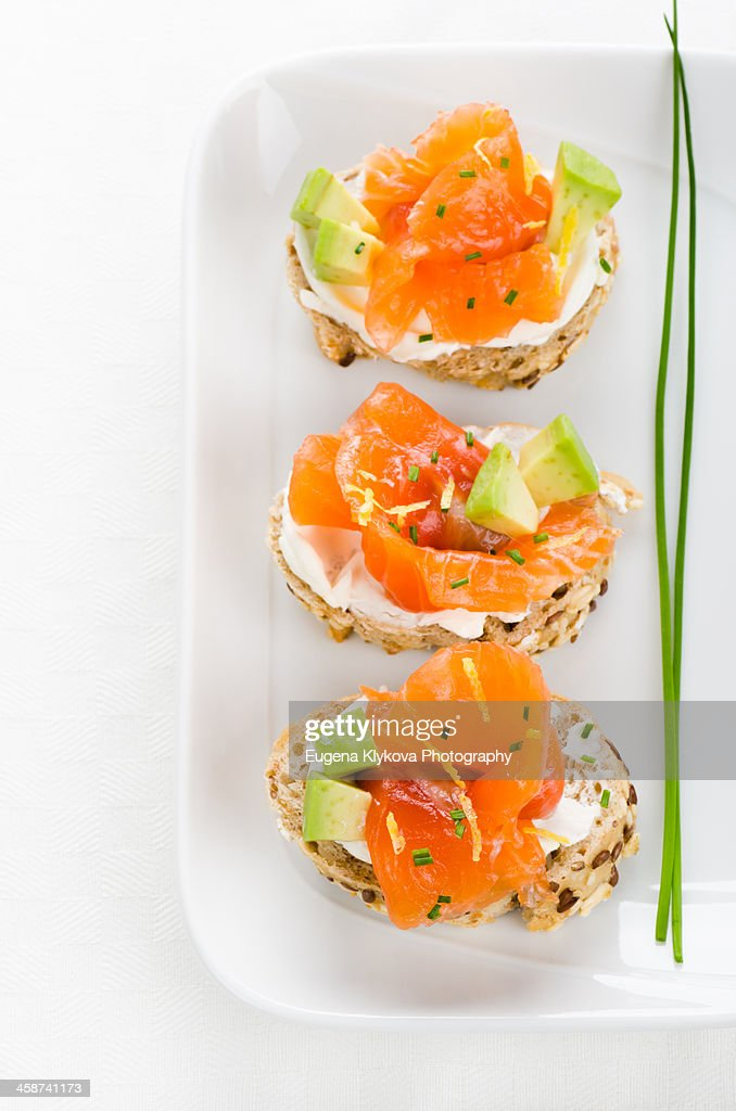 Canapes with smoked salmon cream cheese stock photo for Cream cheese canape