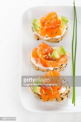 Canapes with smoked salmon cream cheese stock photo for Smoked salmon cream cheese canape
