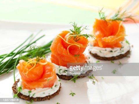 Canapes with smoked salmon : Stock Photo