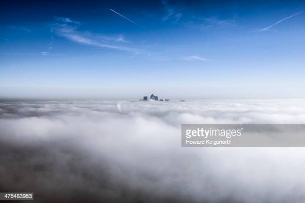 Canary Wharf above the cloudbase