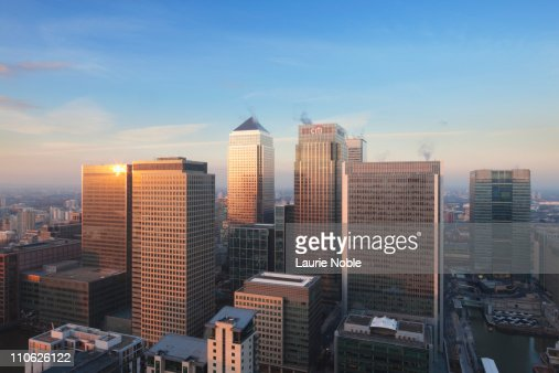 Canary Wharf and London at sunset; London; England